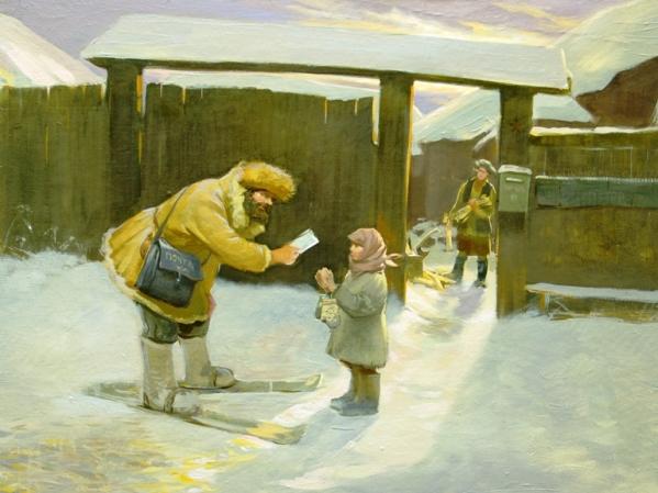Д.Никонов. Письмо зимой. Репродукция